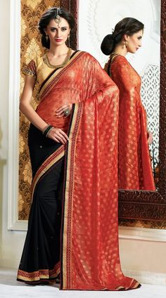 Imposing Black And Red Weaving Butti Chiffon Saree With Blouse  AK126032  Differentiate your look with this new and uniquely created designer saree. The saree in black and red color is crafted on weaving butti chiffon material. The saree is decorated with stone, resham, embroidery and lace work. Contrast blouse piece attached with this outfit. The blouse of this saree can be stitched in the maximum bust size of 42 inches