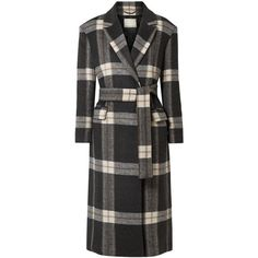 By Malene BirgerMariana Checked Brushed-felt Coat ($545) ❤ liked on Polyvore featuring outerwear, coats, by malene birger, by malene birger coat, checked coat, felt coat and checkered coat