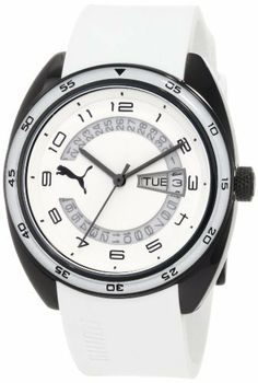 PUMA Women's PU102522007 Course Three-Hand Date White Watch PUMA. $78.57. Water-resistant to 165 feet (50 M). Comes with PUMA signature packaging. Quartz movement. Case diameter: 38 mm. Two year international watch warranty. Save 25% Off!
