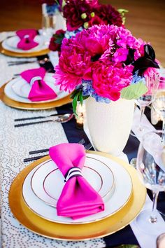bow tie napkins & lots of color