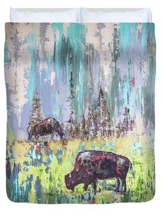 Bison art for a duvet cover. Change the background and the image to fit the desired bed size.