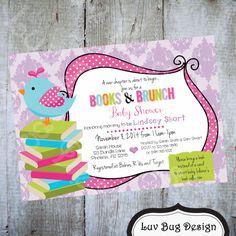 Books & Brunch Baby Shower Invitation-Printable by luvbugdesign