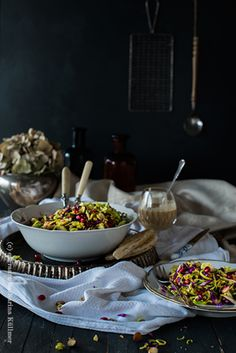 crunchy brussel sprouts salad with nuts, apples, pomegranate, ginger and tahini-dip by Katharina Küllmer for A. Vogel | www.essraum.com