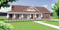 Country Craftsman Traditional Elevation of Plan 64565