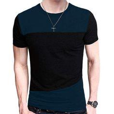 b3439f9540 Patchwork Men T-Shirt Fit t-shirt casual Tee Tops Men Short Sleeve tee shirt