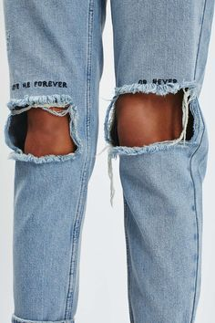 MOTO Slogan Embroidered Mom Jeans More