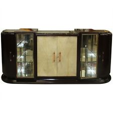 FRENCH ART DECO MASSIVE WALNUT BAR/ DISPLAY BUFFET/ SIDEBOARD, PARCHMENT FRONT
