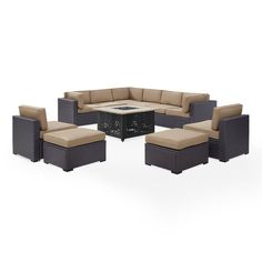 Dinah 10 Person Outdoor Wicker 8 Piece Sectional Seating Group with Cushion with Price : $ 1759.99