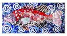 stained glass fish mixed media handmade art contemporary mosaic