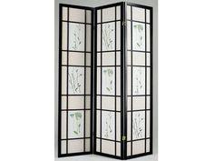 Iola Black Wood 3-Panel Wood Screen
