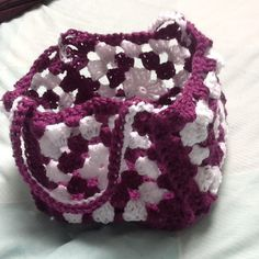 Granny Square Bag Crocheted Bag Square Bag by KreationsByKirstenL