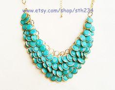 Mermaid Gift Turquoise Jewelry - Bubble Statement Necklace,Turquoise necklace,beaded jewelry,birthday gift. $18.00, via Etsy.