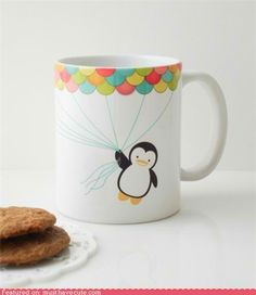 Penguin and balloon home decorated mug. It's a pingu!