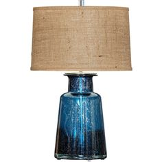 Barclay Butera Laguna Blue Table Lamp (135 KWD) ❤ liked on Polyvore featuring home, lighting, table lamps, lamps, drum lamp-shade, drum light shade, drum shades, blue light shade and drum lamp shade