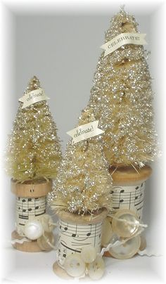 Vintage bleached Christmas trees on wooden spools - from trash to treasure art blog