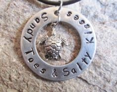 Sandy Toes and Salty Kisses Beach Hand Stamped Aluminum Metal Washer Pendant Necklace with Sea Turtle Charm