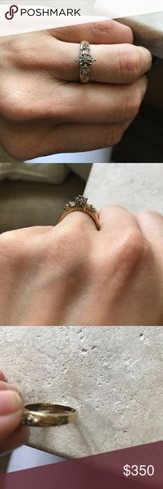 Diamond Ring 10k gold. Vintage Diamond ring. Size 7. Jewelry Rings