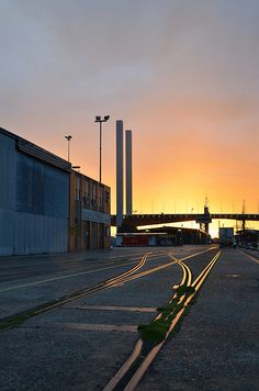 Sun setting behind the Bolte, view from North Wharf at Victoria Harbour, Docklands, Melbourne