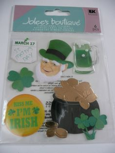 St PATTYS (Patricks) DAY - Leprechaun Scrapbooking layout ideas Jolees Boutique Scrapbooking Stickers by ExpressionsofFaith, $2.99
