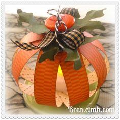 Mini Pumpkin Centerpiece Tea Light with CTMH Cricut. My talented friend, Joanne Walton of Create with Heart, designed this darling mini centerpiece. Love the tea light inside! Instant mini centerpiece!