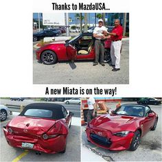 @mazdausa After hearing about one of their customers getting rear-ended just minutes after picking up his new Miata, Mazda is sending out a replacement next month!‪ #longlivetheroadster | #TopMiata #mazda #miata #mx5 #eunos #roadster #ndmx5 #ndmiata