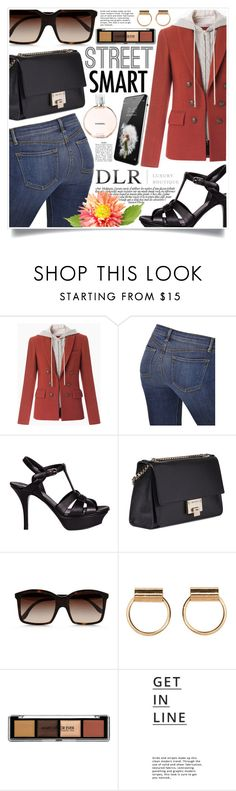 """""""Street Smart with DLRBOUTIQUE.COM"""" by gorgeautiful ❤ liked on Polyvore featuring Veronica Beard, J Brand, Yves Saint Laurent, Jimmy Choo, STELLA McCARTNEY, Lipsy, Chanel, StreetStyle, classy and Elegant"""