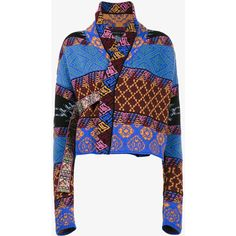 Etro Patchwork wraparound Cardigan ($1,595) ❤ liked on Polyvore featuring tops, cardigans, multicolour, wool wrap cardigan, white wool cardigan, white cardigan, wrap top and wrap around cardigan