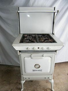 vintage alcazar enamel gas stove white and grey 1930 39 s good condition in 2019 antique cooking. Black Bedroom Furniture Sets. Home Design Ideas