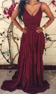 Wine Red Lace Spliced Open Back Maxi Dress