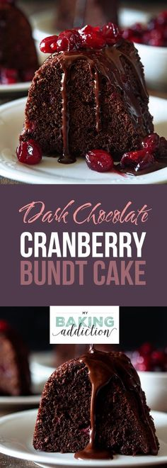 This Dark Chocolate Cranberry Bundt Cake is the perfect combination of rich chocolate and tart juicy cranberries in a tender, buttery cake. Perfect for the season of entertaining! #chocolate #cake