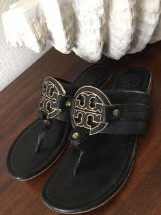 b3b6e9f12 Tory Burch Amanda Flat Thong Tumbled Leather Sandal Black Size 8/7 #fashion  #