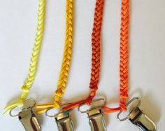 23 LOVELY COLORS Braided binky clips newly by BraidedLovelies