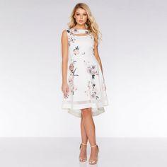Cream and Pink Floral Dip Hem Dress