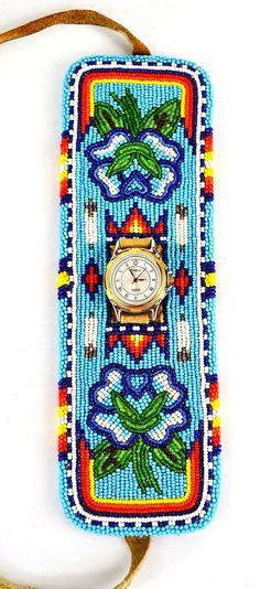 Sale!~~~Gorgeous Wide Watch Cuff Bracelet Beaded American Southwest Style
