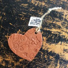 Embossed Heart Ornament Red Dirt by OklahomaRealRedDirt on Etsy