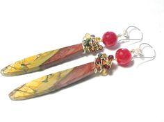 Long Mutli-Color Picasso Jasper Plane Leaf, Jade, Citrine, Pyrite, Garnet Bead Earrings by gorgeous on Etsy https://www.etsy.com/listing/154843872/long-mutli-color-picasso-jasper-plane