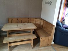 Wooden Table And Bench With Corner Seating