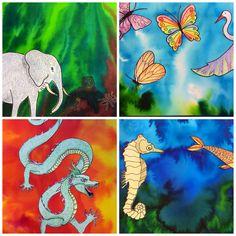 Ecoline met een pipetje gedruppeld op nat acquarelpapier. Afbeelding apart getekend op acquarelpapier en ingekleurd met wasco. Thema lucht, aarde, water, vuur.