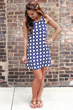 Prints Charming Blue Print Shift Dress | The shape, Wear to work ...