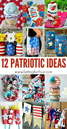 Celebrate the Fourth of July with these 12 Patriotic Ideas from the Monday Funday party. From treats to crafts, we have you covered to celebrate in style! Patriotic Crafts, Patriotic Party, July Crafts, Holiday Crafts, Holiday Fun, Patriotic Images, Holiday Recipes, Holiday Ideas, 4th Of July Celebration