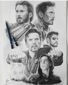 """My pencil work inspired in Avengers: Infinity War! 📽 It is my first work composed of a group of portraits, and I enjoyed a lot in it's process, as much as i enjoyed the film! I hope you like it! Captain Marvel, Marvel Avengers, Memes Marvel, Marvel Art, Funny Avengers, Drawing Cartoon Characters, Marvel Characters, Cartoon Drawings, Avengers Drawings"