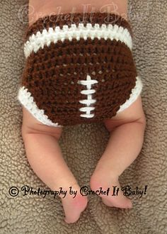 Ravelry: Football Hat and Diaper Cover Set pattern by Crochet It Baby