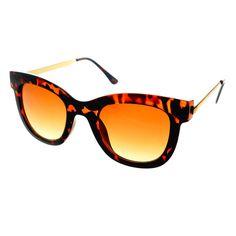 #retro #fashion #designer #womens #retro #vintage #metal #arms #cat #eye #sunglasses #tortoise #gold #gradient #lens