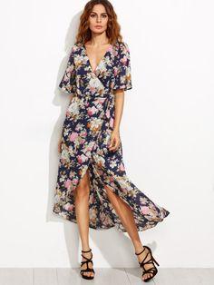 Длинное асимметричное платье с цветочным принтом с запахом