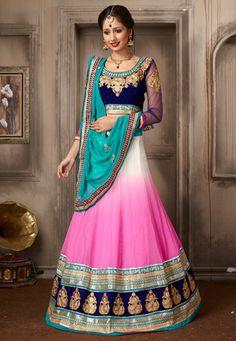Shaded Pink and Off White Chiffon Lehenga Choli with Dupatta