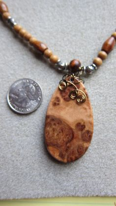 Exotic Wood Pendant Beaded Necklace Corrugatta by watercolorsNmore