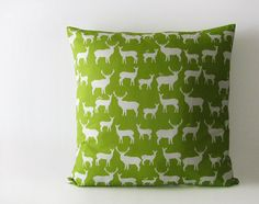 Green decorative pillow cover with deers and elks  by EllensAlley, $32.00