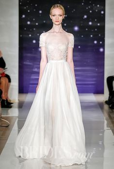 Embroidered Chantilly lace wedding dress with full silk chiffon skirt, Reem Acra