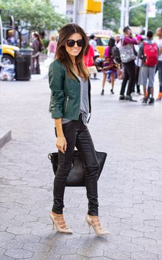 Leather pants with green leather coat