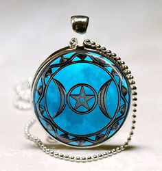 Blue Moon Triple Moon Goddess Jewelry Necklace Pendant,